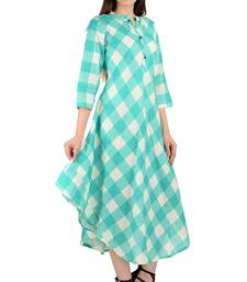 turquoise printed Cotton stitched kurti