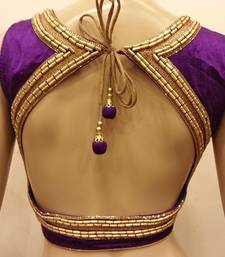 Purple rawsilk handwork blouse
