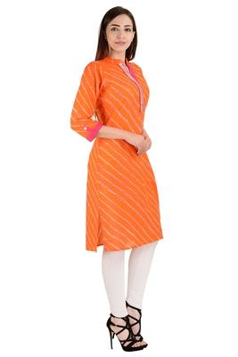 orange printed Cotton stitched kurti