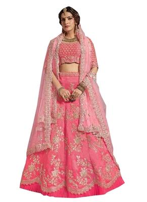 Pink embroidered  silk unstitched lehenga