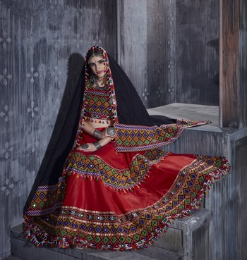 Red Embroidered Cotton Semi Stitched Lehenga