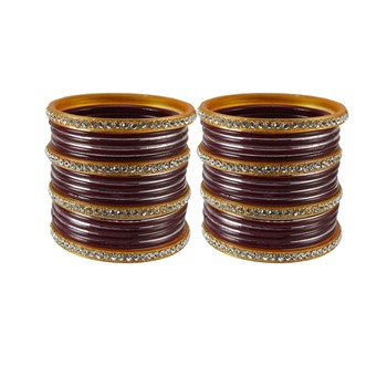 Maroon crystal bangles-and-bracelets