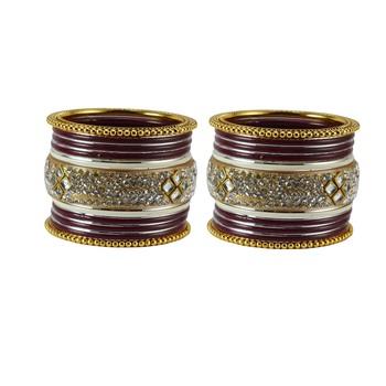 Maroon Crystal Bangles And Bracelets