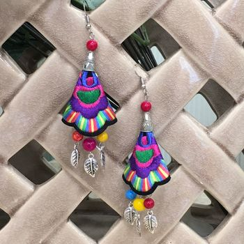 Women Traditional Silver Plated Oxidised lightweight Multi-color Embroidery Floral & Leaf beads Hook Earrings Jewellery