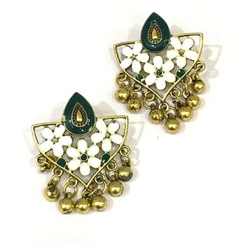Women Traditional Jewellery Gold Plated Oxidised Alloy Stud Earrings Green Floral Enamel Work Ghungroo Earrings
