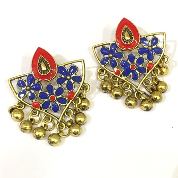 Women Traditional Jewellery Gold Plated Oxidised Alloy Stud Earrings Blue & Red Floral Enamel Work Ghungroo Earrings
