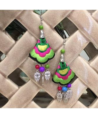 Women Traditional Silver Plated Oxidised lightweight Multi-color Embroidery Floral & Owl beads Hook Earrings Jewellery