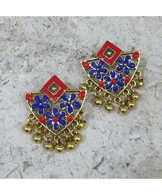Women Traditional Jewellery Gold Plated Oxidised Alloy Stud Earrings Blue & Red Floral Enamel Work Ghungroo Earrings