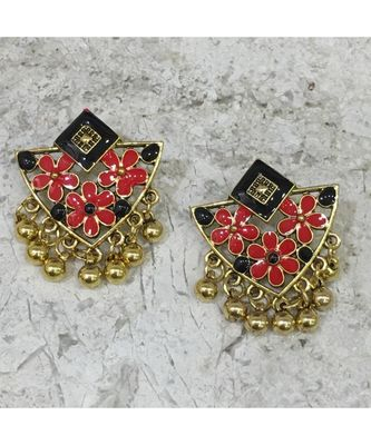 Women Traditional Jewellery Gold Plated Oxidised Alloy Stud Earrings Black & Red Floral Enamel Work Ghungroo Earrings