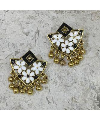 Women Traditional Jewellery Gold Plated Oxidised Alloy Stud Earrings Black Floral Enamel Work Ghungroo Earrings