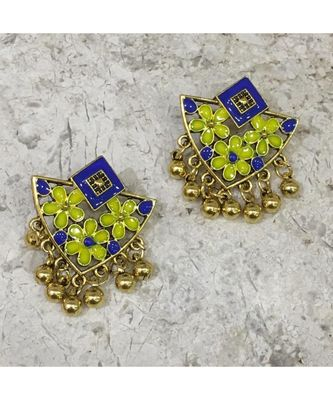 Women Traditional Jewellery Gold Plated Oxidised Alloy Stud Earrings Dark Blue Floral Enamel Work Ghungroo Earrings