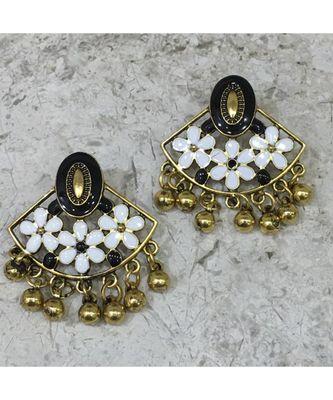 Women Traditional Jewellery Gold Plated Oxidised Alloy Stud Earrings Black & White Floral Enamel Work Ghungroo Earrings