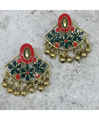 Women Traditional Jewellery Gold Plated Oxidised Alloy Stud Earrings Red & Green Floral Enamel Work Ghungroo Earrings