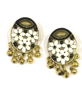 Women Traditional Jewellery Gold Plated Oxidised Alloy Stud Earrings White Floral Enamel Work Ghungroo Earrings