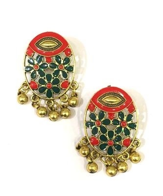 Women Traditional Jewellery Gold Plated Oxidised Alloy Stud Earrings multi-color Floral Enamel Work Ghungroo Earrings