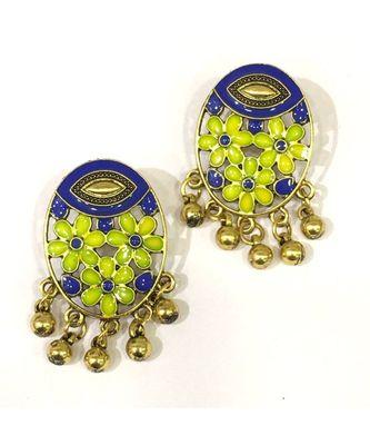 Women Traditional Jewellery Gold Plated Oxidised Alloy Stud Earrings Blue Floral Enamel Work Ghungroo Earrings