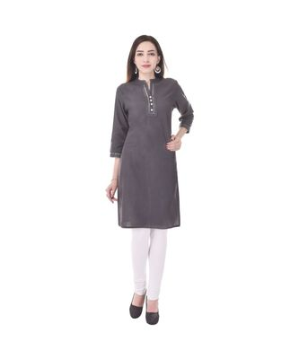 grey printed Cotton stitched kurti