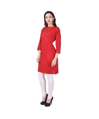 red printed Cotton stitched kurti