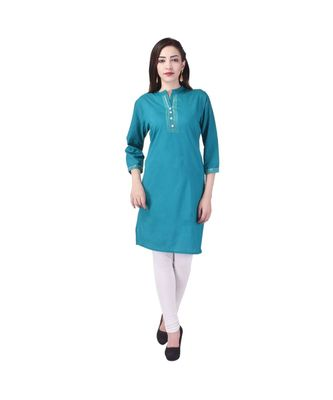 turquoise printed Cotton stitched kurti