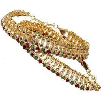 Colourful Designer Fancy Kundan Brass Payal Anklet