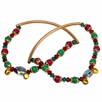 Alluring Red Green Royal Ethnic Brass Payal Anklet