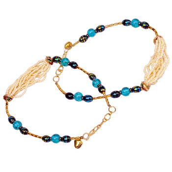 White n Blue Designer Jaipuri Brass Payal Anklet