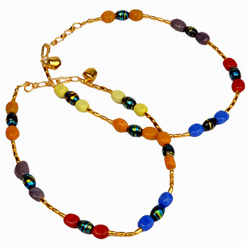Traditional Multi-color Ethnic Brass Payal Anklet