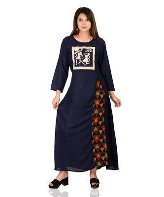 blue printed Rayon stitched kurti