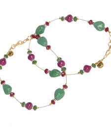 Rajasthani Red N Green Ethnic Brass Payal Anklet