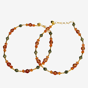 Exotic Design Flattering Orange Brass Payal Anklet