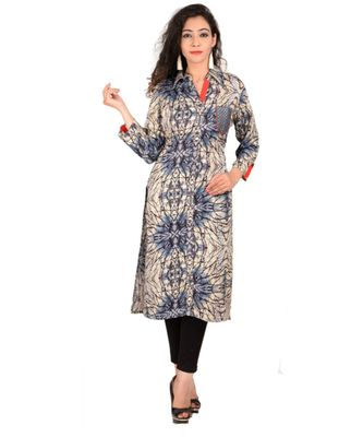 purple printed Cotton stitched kurti