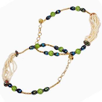 Graceful White n Green Designer Brass Payal Anklet
