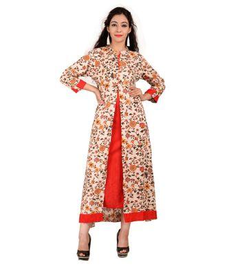 red printed Rayon stitched kurti