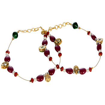 Maroon N Golden Unique Ethnic Brass Payal Anklet