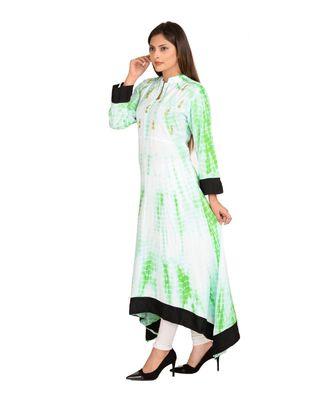 Green printed Rayon stitched kurti