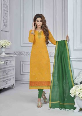 Yellow embroidered banarasi brocade salwar