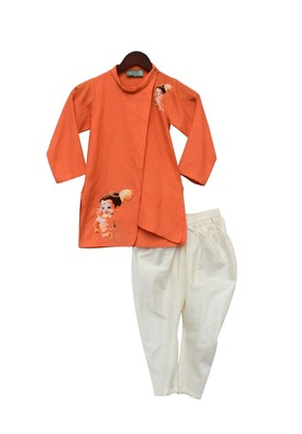 Orange Hanuman ji Printed Kurta with Chuidar