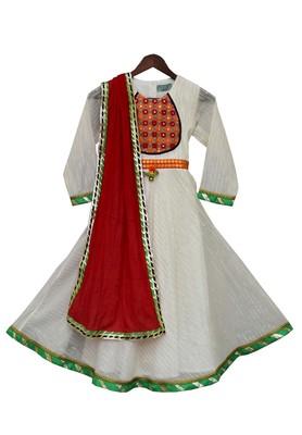 White Anarkali Kurta Dress with Red Dupatta