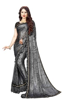 Charcoal printed lycra saree with blouse