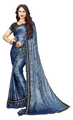 Royal blue printed lycra saree with blouse