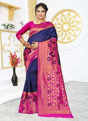 Royal blue woven banarasi silk saree with blouse