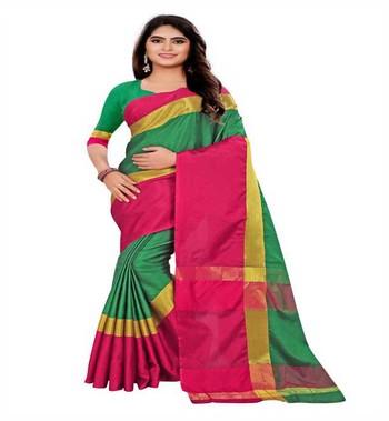 multicolor plain art silk saree with blouse