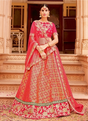 Coral embroidered jacquard semi stitched lehenga
