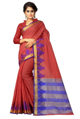 Rust woven cotton saree with blouse