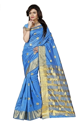 Kimisha Women's Firozi Cotton Woven Saree With Jacquard Work & Designer Pallu
