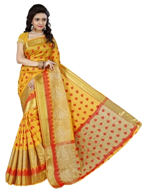 Kimisha Women's Yellow Cotton Woven Saree With Jacquard Work & Designer Pallu