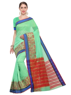 Kimisha Women's Light Green Jacquard Cotton Silk Saree With Designer Pallu