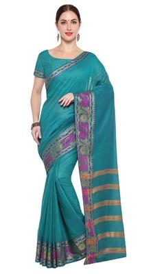Kimisha Women's Teal Jacquard Cotton Silk Saree With Designer Pallu