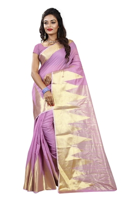 Lavender woven cotton silk saree with blouse