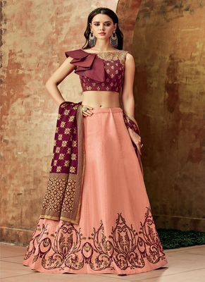 Peach Thread Embroidery Silk Semi Stitched Lehenga